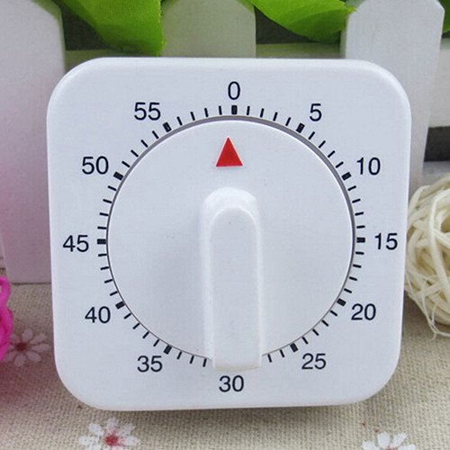 Novelty White Square 60-Minutes Mechanical Timer Reminder Counting for Kitchen