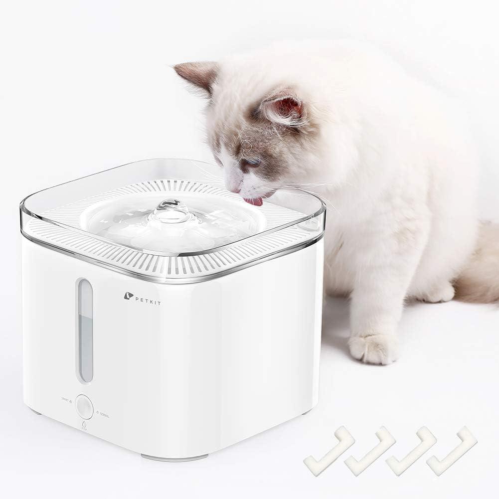 PETKIT Cat Water Fountain, 68oz/2L Pet Water Fountain Super Quiet, Auto Power-Off Cat Water Dispenser, Dual Working Mode, LED Indicator Light, Reddot Design Winner, 4 Foam Filters Included
