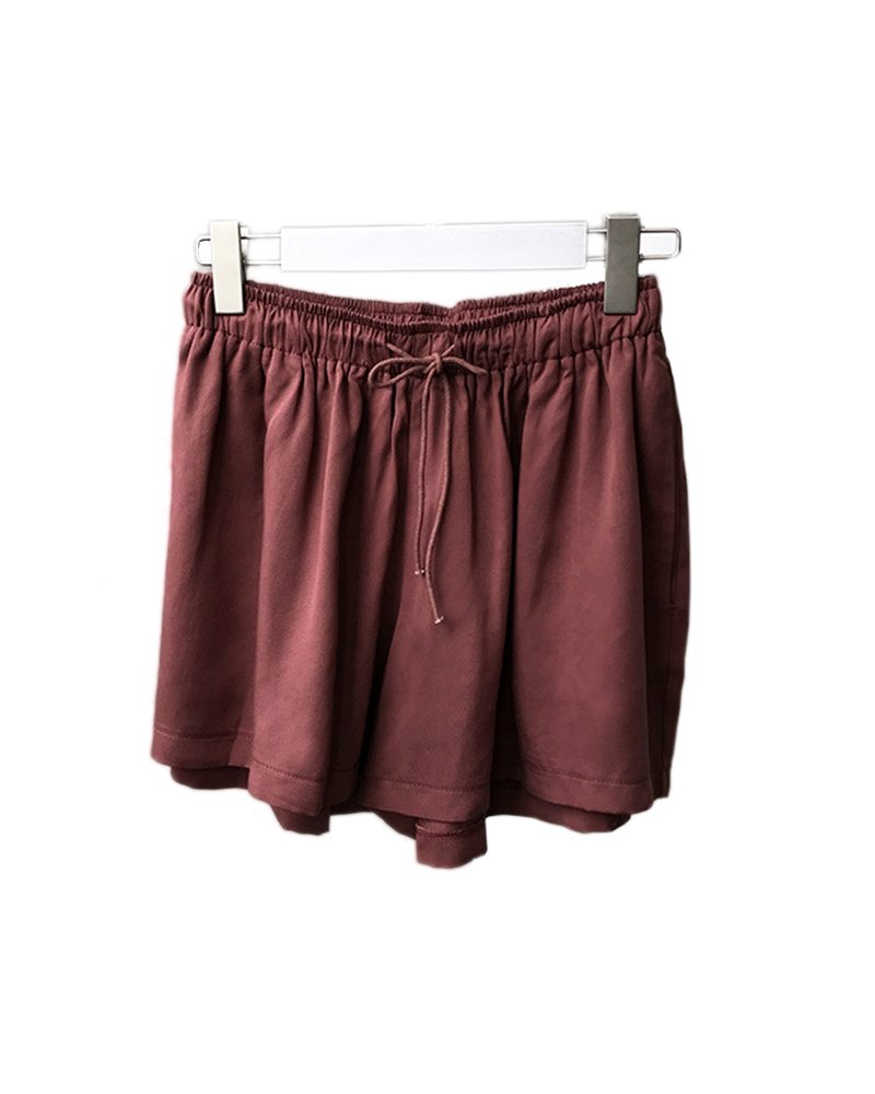 FOURSTEEDS Womens Oversize Drawstring Elastic Waist Solid Ruffle Lounge Yoga Gym Casual Sport Shorts Wine Red US 8-10/Tag Size L