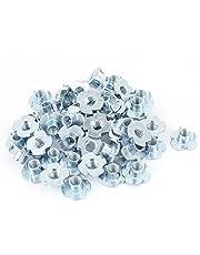 "uxcell 20 Pcs Full Thread 4 Prongs Zinc Plated T-Nut Tee Nut Fixing 3/8""-16 x 7/16"""
