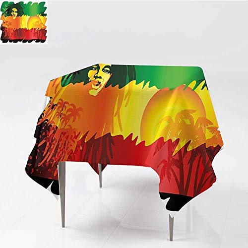 Easy Care Tablecloth Rasta Iconic Reggae Music Singer Abstract Design with Sun and Palm Trees Green Yellow Red and Orange Party W36 xL42