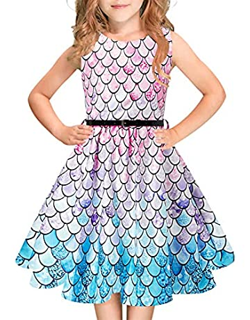 518edc17d0 Funnycokid Girls Vintage Dress Sleeveless Swing Party Dresses with Belt 6-13  Years