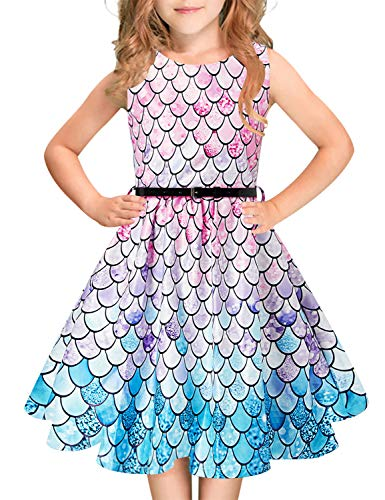 Mermaid Dress For Girls (Funnycokid Girls Dress Outfits Mermaid Fish Scale 50's Vintage Birthday Party Dress 11-12 Years)
