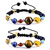 Cat Eye Jewels Solar System Bracelet Adjustable Handmade Universe Galaxy The Eight Planets Guardian Star with Moon Natural Stone Beads Bracelets Bangles, Set of 2