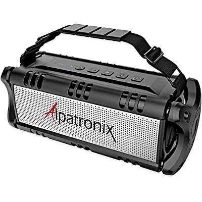Waterproof Bluetooth Speaker, 40W Portable Wireless Speaker, 8000mAh Power Bank, Shockproof w/TWS, DSP, Stereo, Subwoofer, TF Card & Equalizer, Alpatronix AX500 for Parties, Indoor & Outdoor - Black