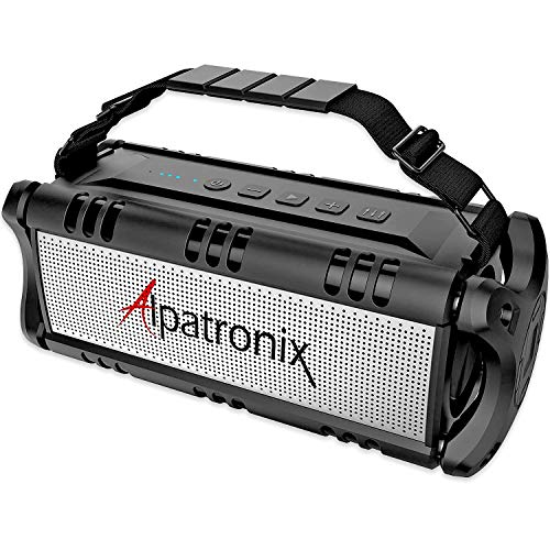 Waterproof Bluetooth Speaker, 40W Portable Wireless Speaker, 8000mAh Power Bank, Shockproof w/TWS, DSP, Stereo, Subwoofer, TF Card & Equalizer, Alpatronix AX500 for Parties, Indoor & Outdoor - Black ()