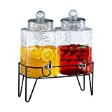 """Style Setter Hamburg 210266-GB 1.5 Gallon Each Glass Beverage Drink Dispensers with Metal Stand (Set of 2), 8.2 x 16.8"""", Clear"""