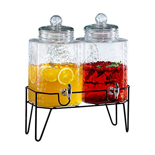 Style Setter Hamburg 210266-GB 1.5 Gallon Each Glass Beverage Drink Dispensers with Metal Stand (Set of 2), 8.2 x 16.8