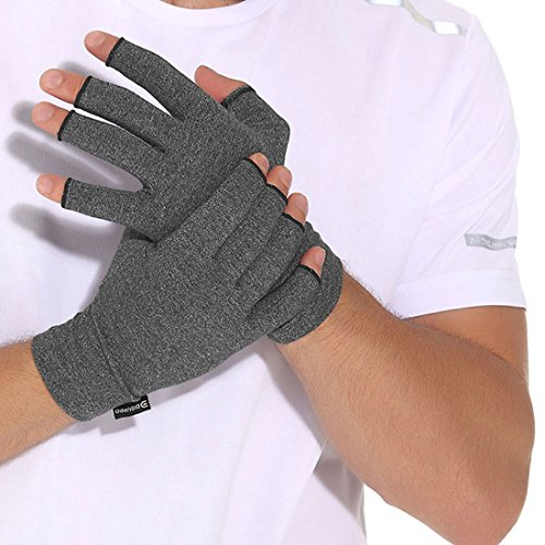 Arthritis Compression Gloves Relieve Pain from Rheumatoid, RSI,Carpal Tunnel, Hand Gloves Fingerless for Computer Typing and Dailywork, Support For Hands And Joints by DISUPPO (Medium)