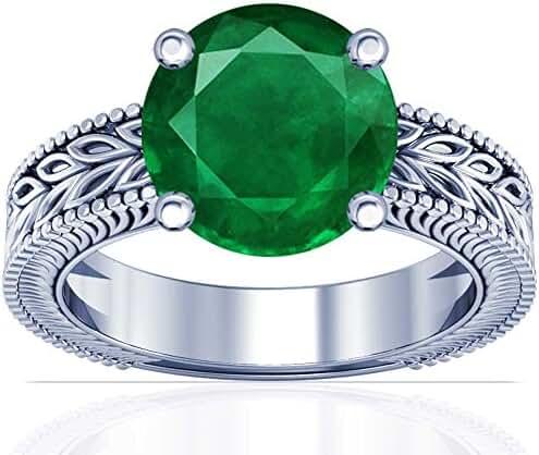 Platinum Round Cut Emerald Solitaire Ring (GIA Certificate)