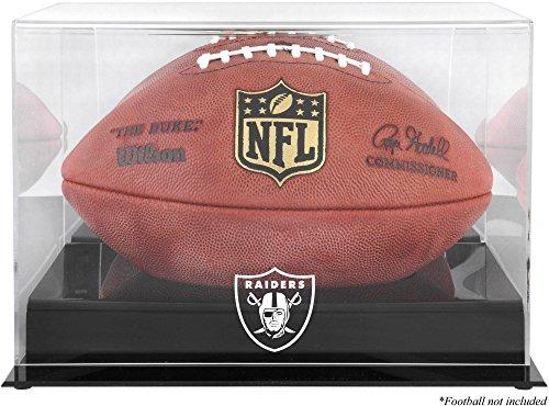 Raiders Logo Display Case - Oakland Raiders Team Logo Football Display Case | Details: Black Base, Mirror Back