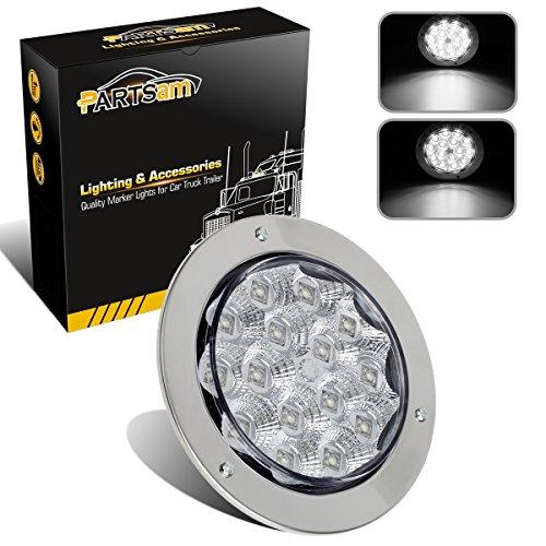 Partsam 4 Round Stainless Steel Ring 15 LED White Backup Reverse Stop Turn Tail Light Universal