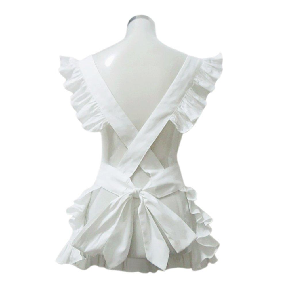 White ruffle apron amazon - Amazon Com Aspire White Apron Cute Women S Apron French Maid Style Cooking Aprons Kitchen Halloween Party Favor White Kitchen Dining