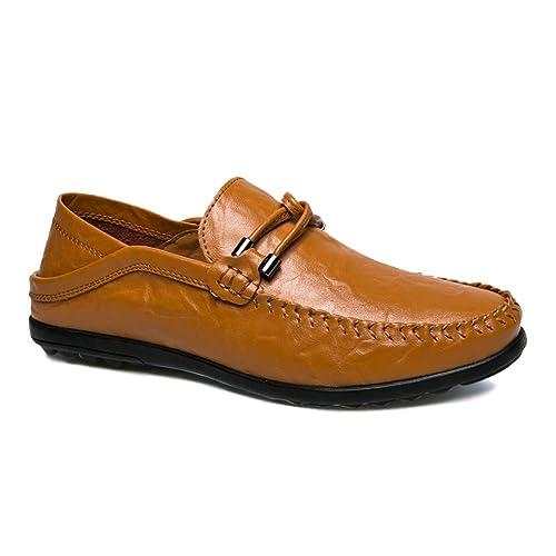 Mocasines de Cuero para Hombres Ligeros, Ligeros, Transpirables, Antideslizantes, Zapatos Deportivos Casuales