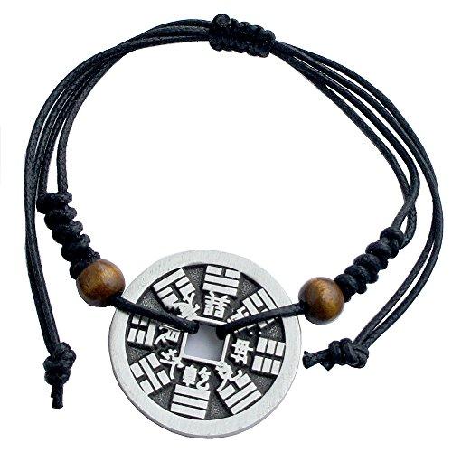 Chinese i-ching coin Good fortune Charm Bracelet lucky pewter pendant (Bagua-Thunder (Pewter Kids Bracelets)