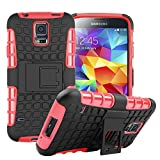 S5 Case, for Samsung Galaxy S5 Case, [Tyre Pattern] Tough Armor Case Double-Deck Layer Protection Hybrid Case Stand Cover [Sure Grip] Shock Drop Impact Proof Cover (Free Gifts: 1x Stylus+1x Screen Protector)(Red)