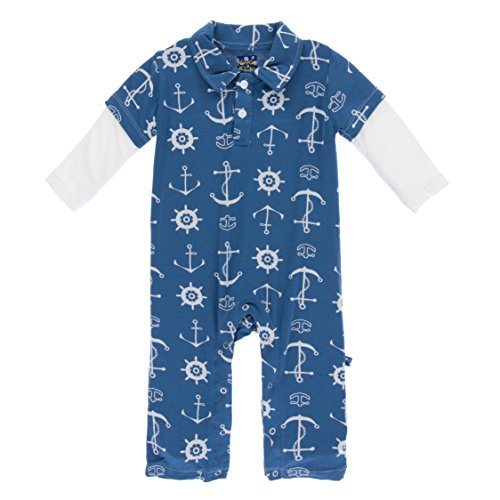 Kickee Pants Boys Bamboo Polo Romper (18-24 Months, Twilight - Fave Shapes