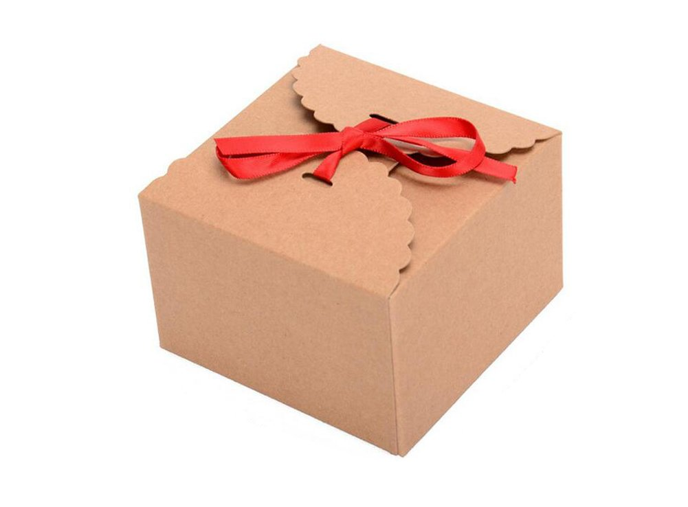 10PCS Kraft Paper Boxes - Handmade Gift Storage Bag Containers With Red Silk Ribbon For Tea//Bake (Brown) Elandy