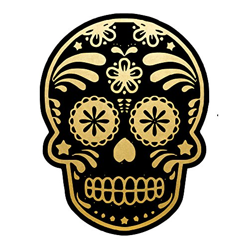 Spooky Skull set of 25 premium waterproof metallic gold and black temporary jewelry foil Flash Tattoos - Party Favors, Party Supplies, Halloween, (Sugar Skull Flash)