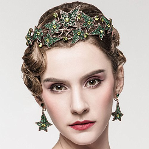 Jovono Wedding Crown Earring Set With Rhinestone Star Baroco Style for Women and Girls (Green)
