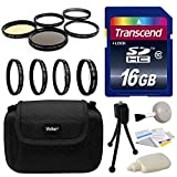 Sony DSLR Digital Camera Set Accessories Bundle Kit For Alpha, NEX, Cybershot Series + 16GB Memory Card + Carrying Case + 4 Piece Close Up Macro Filter Kit + 5 Piece Professional Filters Set + More