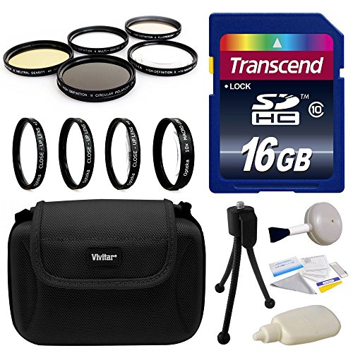 Professional Lens and Filters Accessories Bundle for Sony Alpha A5000, A6000, NEX 3N, NEX-3N, NEX-3NL, NEX3NL, NEX 5T, NEX-5T, NEX5T, NEX 5TL, NEX-5TL, NEX5TL, NEX 6, NEX6, NEX-6, NEX 6L, NEX6L, NEX-6L includes Transcend 16GB SD Memory Card + Deluxe Carrying Case + 4 Piece Close Up Macro Filter Kit + 5 Piece Professional Filters Set + Camera Cleaning Set