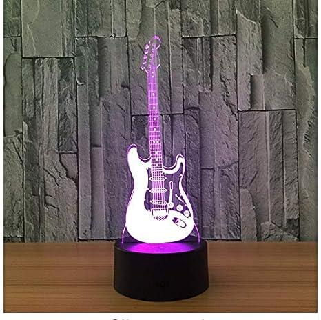 Guitarra Eléctrica Ligera 3D Modelo Ilusión Lámpara 3D Led 7 Cambio ...