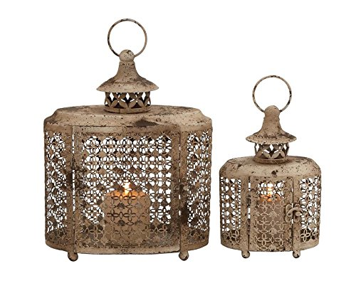 Deco 79 52979 Metal Candle Lantern Set of 2