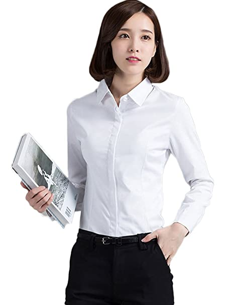 8d40e410 ezShe Uniform Women's Long Sleeve Button Down Shirt Oxford Blouse, White,  ...