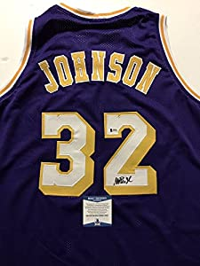 Autographed/Signed Earvin Magic Johnson Los Angeles Lakers Purple Basketball Jersey Beckett BAS COA