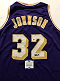 Autographed/Signed Earvin Magic Johnson Los Angeles Lakers Purple Basketball Jersey Beckett BAS COA