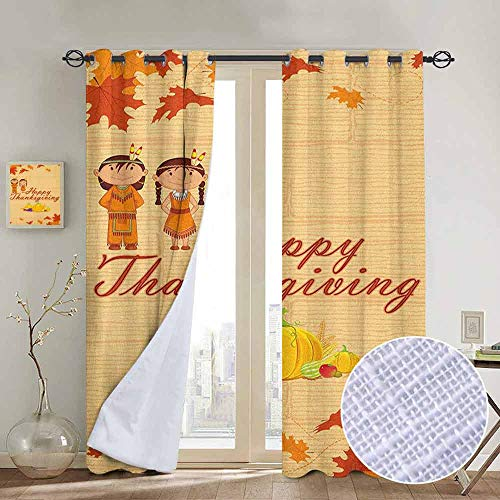 NUOMANAN Pattern Curtains Kids Thanksgiving,Children in Native American Costume Preserving Indigenous Heritage, Orange Multicolor,Living Room and Bedroom Multicolor Printed Curtain Sets 100
