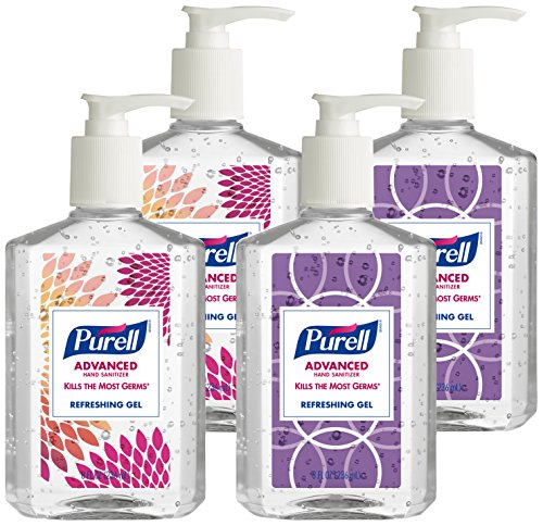 PURELL Advanced Hand Sanitizer Gel, Design Series, 8 fl oz Table Top Pump Bottle (Pack of 4) 9652-04-ECDECO ()