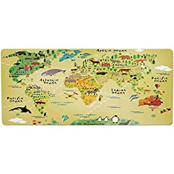 Pet Mat for Food and Water,Kids Decor,Educational World Map Africa America Penguins Atlantic Pacific Ocean Animals Australia Panda Decorative,Rectangle Non-Slip Rubber Mat for Dogs and Cats