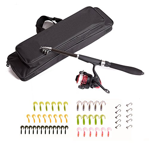 Fastwolf Fishing Lure Rod Set,Fishing Rod and Reel Combos, Fishing Kit Set Includes Telescopic Fishing Rod Fishing Reel Fishing Line Carrying Bag Lure, Fishing Full Kit,1.6m