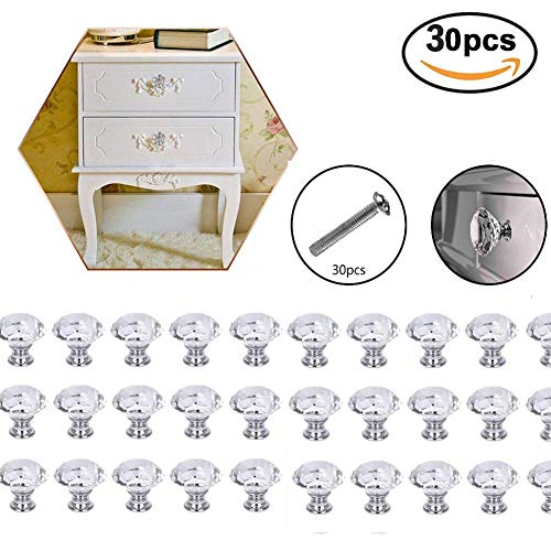 Zimo 2PCS Clear Crystal Glass Pullhandle for Cupboard Wardrobe Cabinet Drawer Home Decor Door Pull Handles (30 pcs Drawer Knobs) from zimo