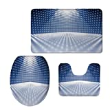 Fashion 3D Baseball Printed,Light Blue,Vibrant Dotted Stage Image Movie Theater Performance Famous Reveal Decorative,Blue Light Blue White,U-Shaped Toilet Mat+Area Rug+Toilet Lid Covers 3PCS/Set