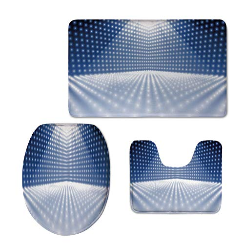 Fashion 3D Baseball Printed,Light Blue,Vibrant Dotted Stage Image Movie Theater Performance Famous Reveal Decorative,Blue Light Blue White,U-Shaped Toilet Mat+Area Rug+Toilet Lid Covers 3PCS/Set by iPrint