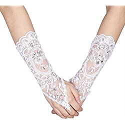 Bridal Wedding Gloves Ivory Lace Flower Vintage Style Rhinestone Satin Wedding Party Fingerless Gloves
