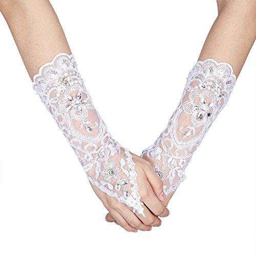 Scalloped Satin Design (Bridal Wedding Gloves Ivory Lace Flower Vintage Style Rhinestone Satin Wedding Party Fingerless Gloves)