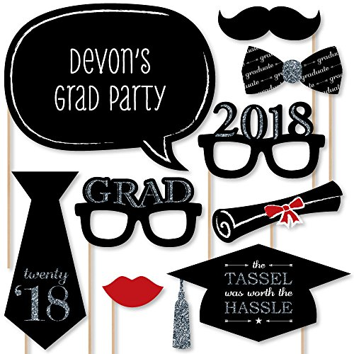 Personalized Photo Booth Backdrop (Custom Silver Graduation Photo Booth Props Kit - Personalized 2018 Graduation Party Supplies - 20 Selfie Props)