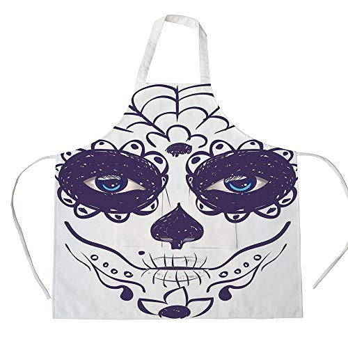 iPrint Cotton Linen Apron,Two Side Pocket,Day of The Dead Decor,Dia de Los Muertos Sugar Skull Girl Face with Mask Make up,Black White and Blue,for Cooking Baking Gardening ()