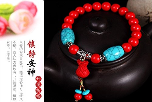Generic Every day special] genuine cinnabar couple hand chain bracelet bangle wristband bracelets men and women of prayer beads to ward off evil transit beads birthday gifts by Generic (Image #2)