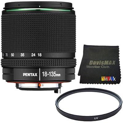 Pentax SMC DA 18-135mm F/3.5-5.6 ED AL (IF) DC WR Lens + 62mm UV Filter + DavisMAX MicroFiber Cloth DavisMAX Bundle