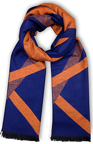 Bleu Nero Luxurious Winter Scarf for Men and Women - Large Selection of Unique Design Scarves - Super Soft Premium Cashmere Feel Blue Orange Criss cross stripes
