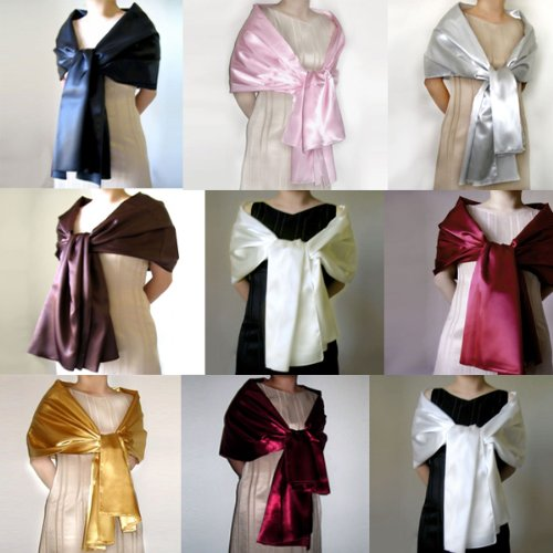 SACAS Satin Wrap Shawl For Wedding Formal party 72inch Long with 9 colors