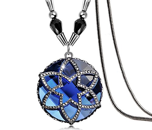 The Starry Night Round Blue Crystal Diamond Accented Hollow Flower Pendant Beaded Sweater Chain (Quilling Quilt Blocks)