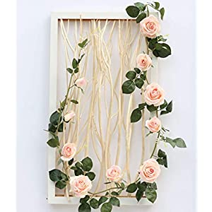 KALOR Fake Rose Vine Garland Artificial Flowers Plants Farmhouse Stylet for Home Decor Hotel Wedding DIY 2PCS 31