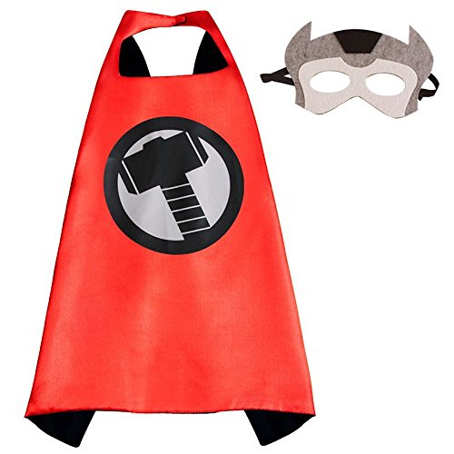 [Superhero Halloween Party Cape and Mask Set for kids Thor] (Custom Werewolf Costumes For Sale)
