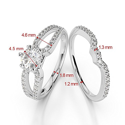 G-H/VS 0,50CT Coupe ronde sertie de diamants Émeraude et diamants blancs et bague de fiançailles en platine 950Agdr-1148